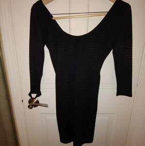 Forever 21 Little Black Semi-Shear Dress Small